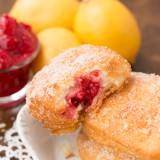 lemon raspberry donuts rolled in lemon sugar ohsweetbasil.com