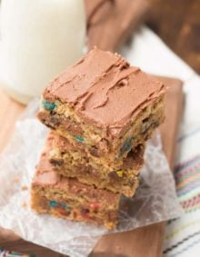 pb monster cookie bars! ohsweetbasil.com
