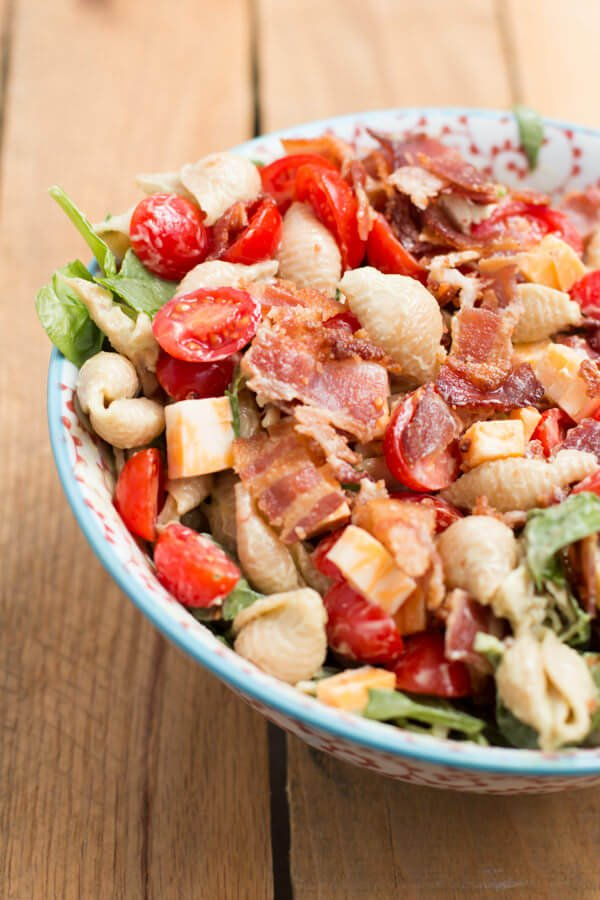 A favorite summer recipe! California Club Pasta Salad ohsweetbasil.com