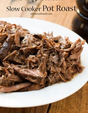 our favorite slow cooker pot roast recipe! ohsweetbasil.com crockpot, insta pot, pressure cooker