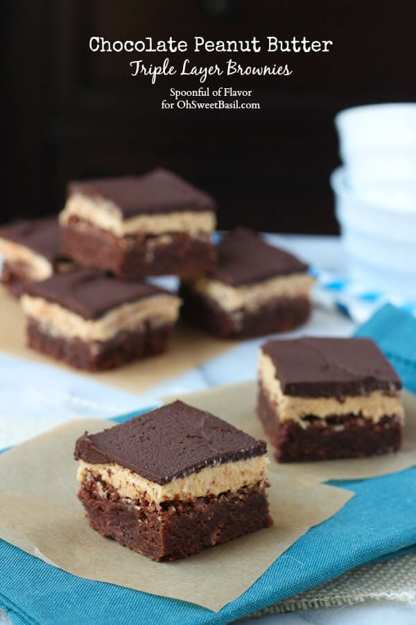 Chocolate Peanut Butter Triple Layer Brownies - irresistible and full of chocolate peanut butter flavor!