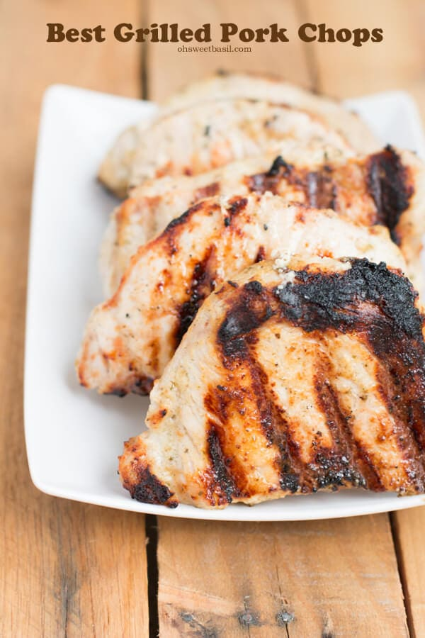 The absolute best grilled pork chops #recipe ever. Had no idea I could love a pork chop this much! ohsweetbasil.com