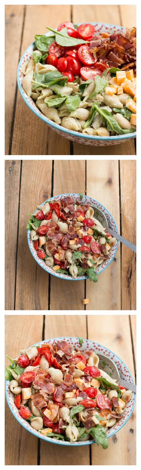 california club pasta salad recipe for those lazy summer days. We love the chunks of chicken, avocado and salty, crisp bacon!