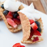 easy cinnamon sugar pie dippers for a red white and blue dessert ohsweetbasil.com 4th of July, berries, whipped cream