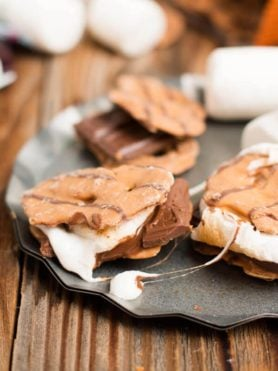 The BEST s'more I've ever had. Peanut butter pretzel crisps instead of grahams! ohsweetbasil.com