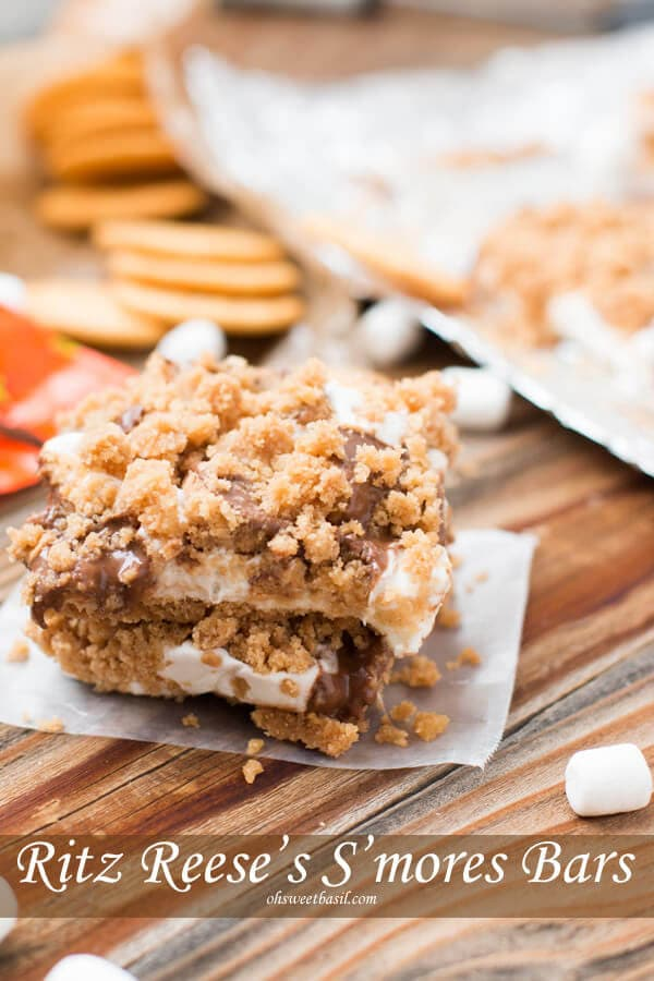 our kids went crazy for these ritz reese's s'mores bars ohsweetbasil.com