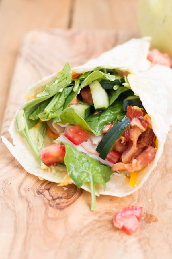 The Best Turkey BLT Wrap with honey avocado dressing