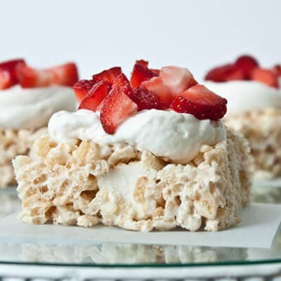 red white and blue lemon rice krispies ohsweetbasil.com 4th of July, summer dessert