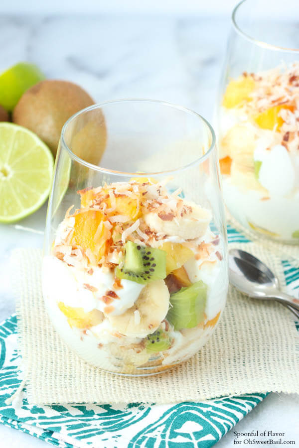 Tropical Fruit Yogurt Parfait for Oh Sweet Basil - the perfect breakfast or snack!