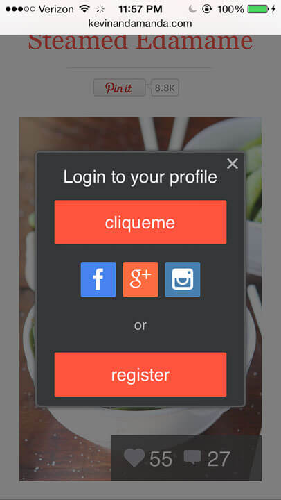 cliqueme mobile giveaway login register screen