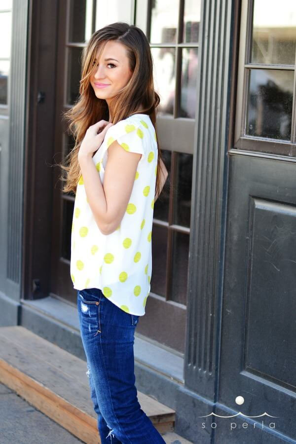 soperla.com lime polka dot. My new favorite shirt and it fits perfectly!