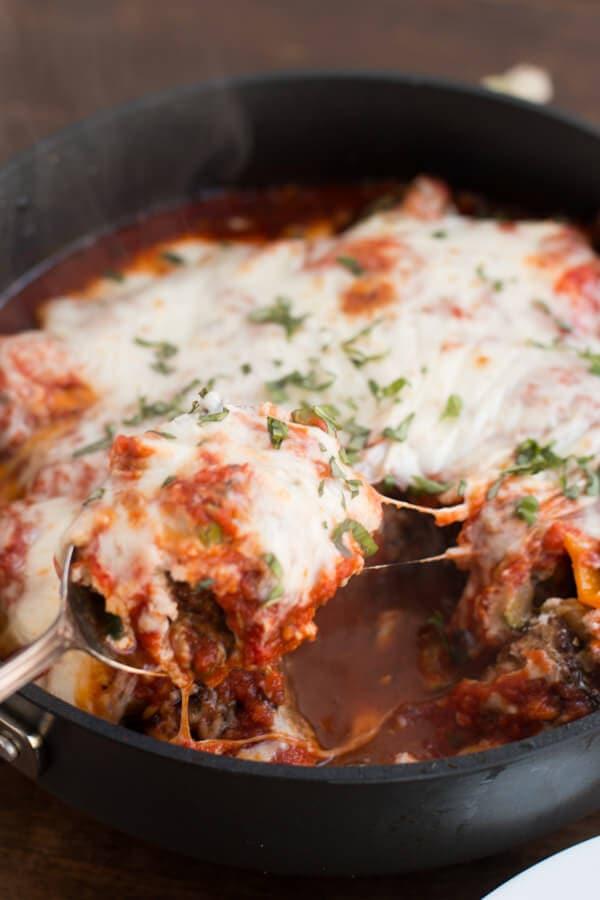 Homestyle Italian Meatball Lasagna Skillet ohsweetbasil.com