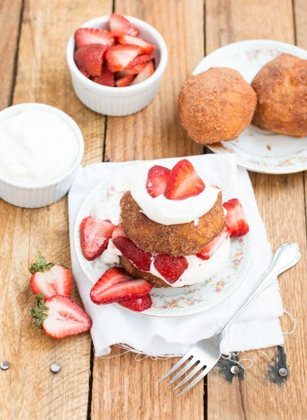 The most delicious dessert I've ever had, deep fried strawberry shortcakes that are rolled in cinnamon sugar and loaded with berries and fresh whipped cream