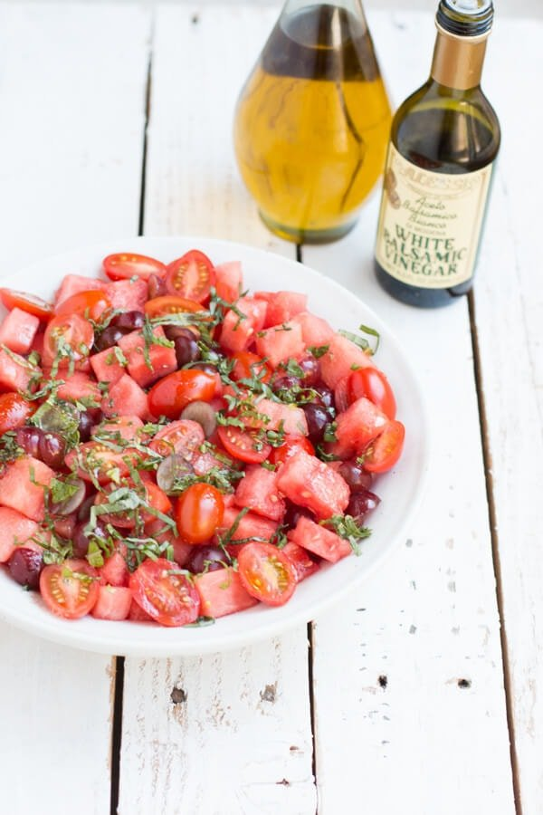 The number 1 salad for picnics, watermelon salad! Ohsweetbasil.com