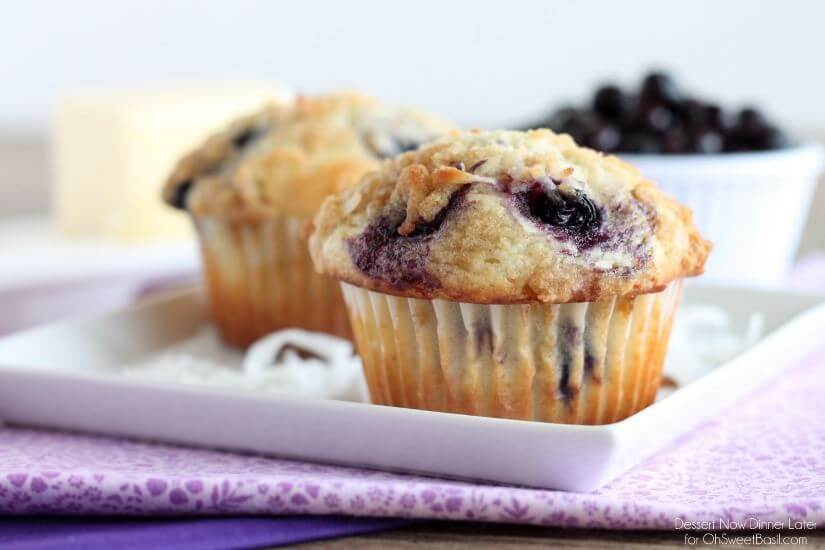 Coconut Blueberry Muffins | Dessert Now Dinner Later for OhSweetBasil ...