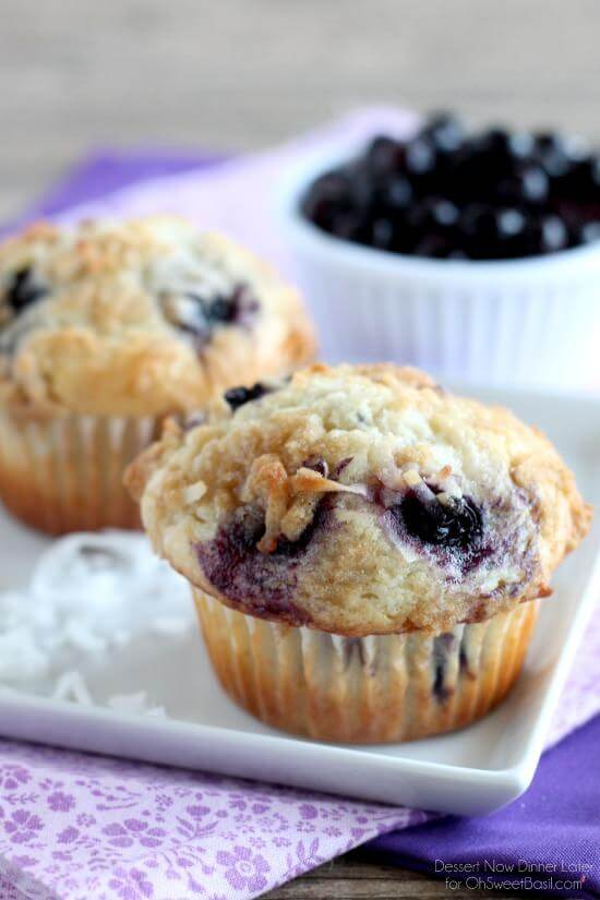 Coconut Blueberry Muffins   Dessert Now Dinner Later for OhSweetBasil.com