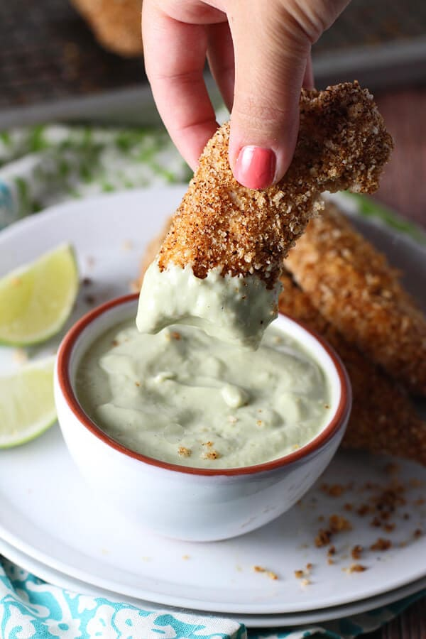 Tex Mex Chicken Tenders with Avocado Garlic Dipping Sauce