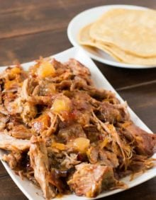 Holy Amazing pineapple habanero pork! 3 ingredients and a slow cooker! ohsweetbasil.com insta pot, crock pot, pressure cooker
