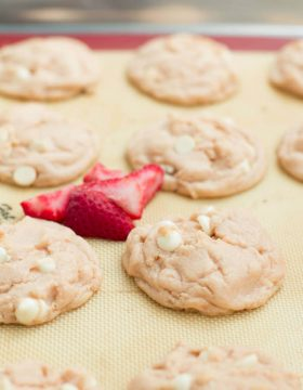 strawberries and cream pudding cookies on ohsweetbasil.com
