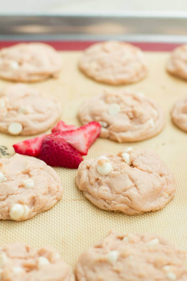 strawberries and cream cookies on ohsweetbasil.com