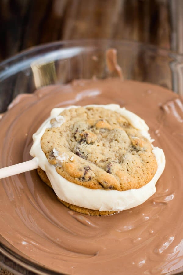chocolate chip cookie ice cream sandwiches dipped in chocolate ohsweetbasil.com