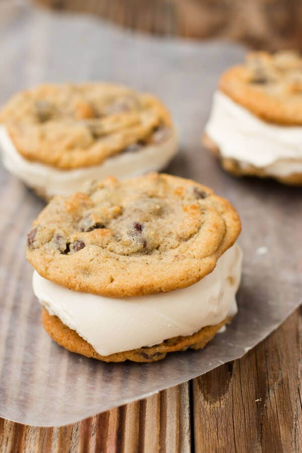 The BEST homemade chocolate chip cookie ice cream sandwiches on a stick ohsweetbasil.com