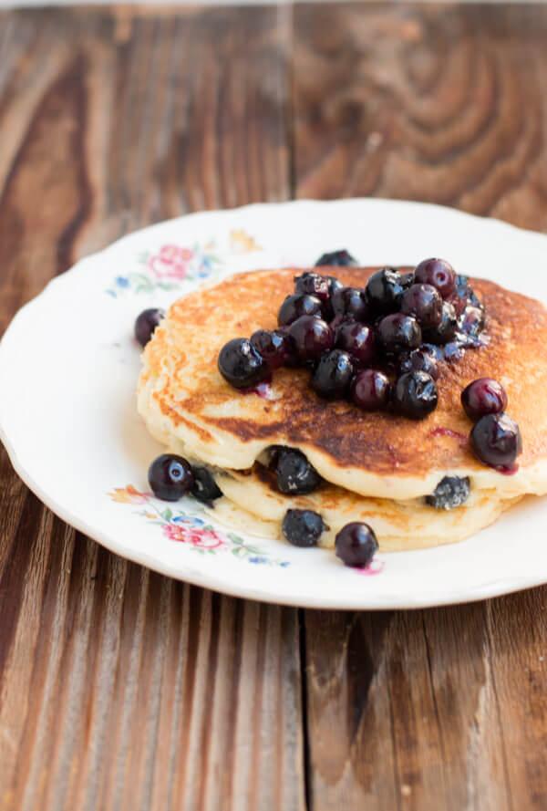 White chocolate blueberry pancakes on ohsweetbasil.com