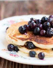 White chocolate blueberry pancakes on ohsweetbasil.com