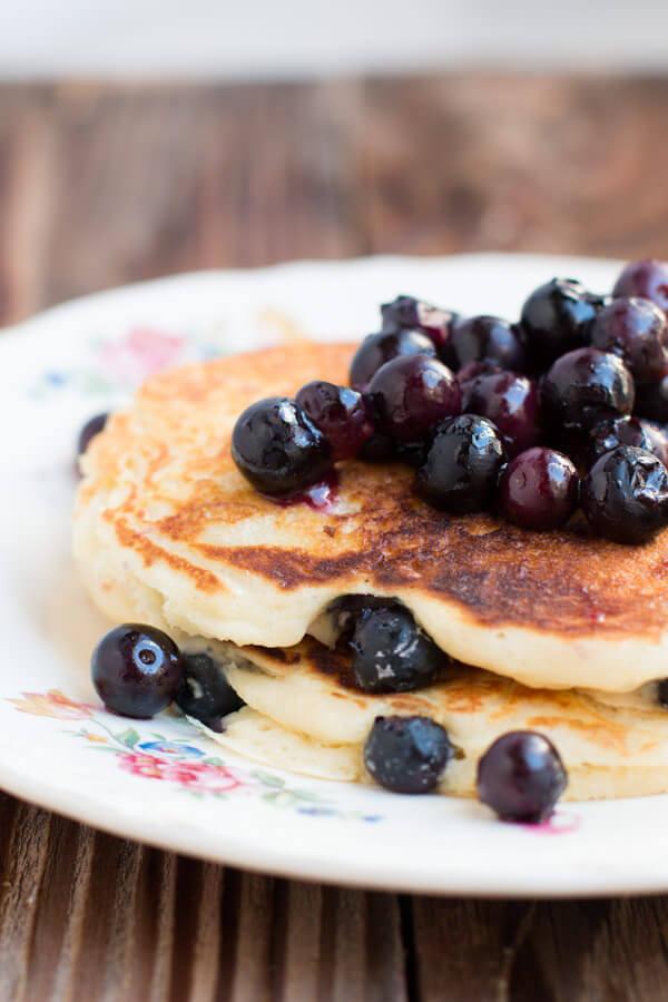 White Chocolate Blueberry Pancakes - Oh Sweet Basil