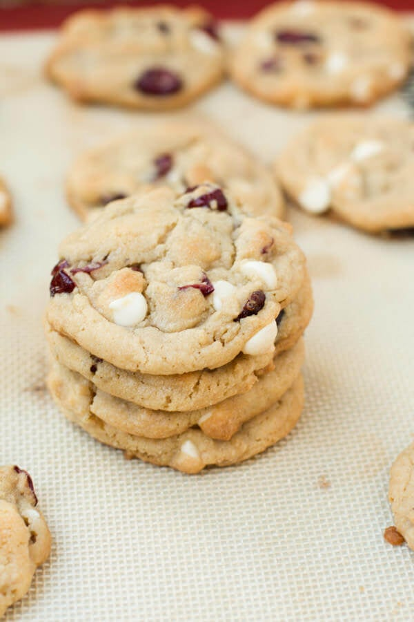 Soft White Chocolate Cranberry Cookies - Oh Sweet Basil