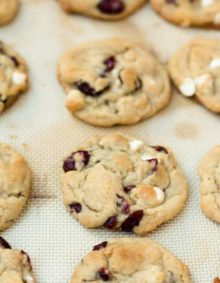 soft white chocolate cranberry cookies ohsweetbasil.com