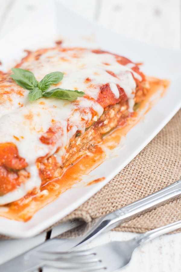 serving of zucchini lasagna on white plate