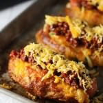 Jalapeño & Cheddar Pretzel Hot Dog Buns with Turkey Chili Cheese