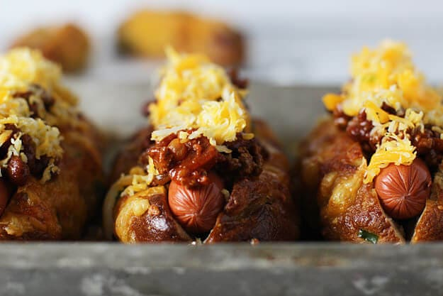 Jalapeño & Cheddar Pretzel Hot Dog Buns with Turkey Chili Cheese is like the mother of all hot dogs. Those pretzel buns are awesome!
