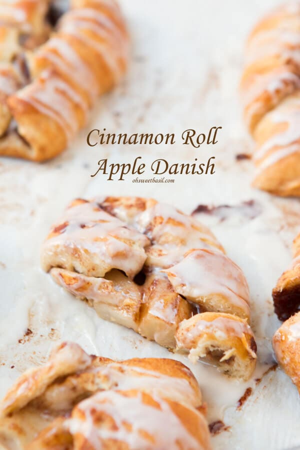 These are amazing! Cinnamon Roll Apple Danishes that are ready in 15 minutes! ohsweetbasil.com