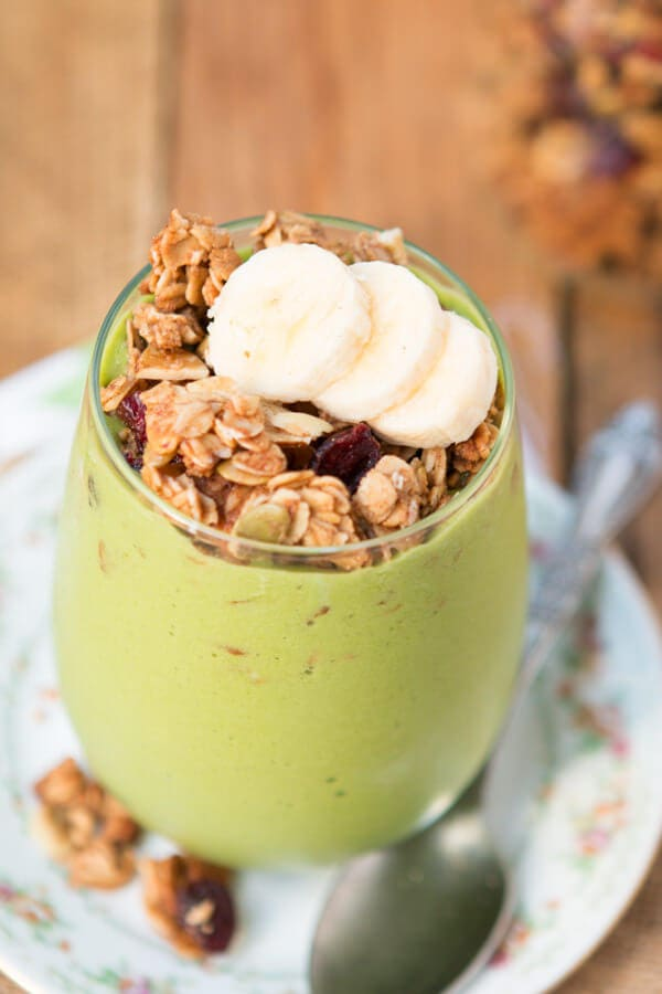 My favorite breakfast lately, protein green smoothie granola parfait ohsweetbasil.com vegetarian, dairy-free, gluten-free