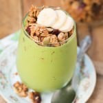 My favorite breakfast lately, protein green smoothie granola parfait ohsweetbasil.com vegetarian, dairy-free, gluten-free