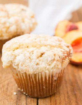 peaches and cream crumb muffins