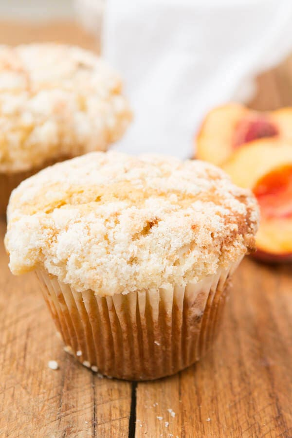 peaches and cream crumb muffins