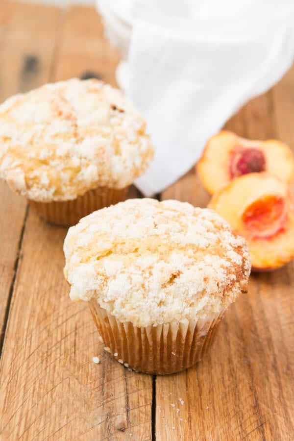 Peaches N Cream Crumb Muffins ohsweetbasil.com