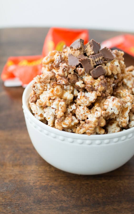 Reese's krispies popcorn! Peanut butter chocolate deliciousness!