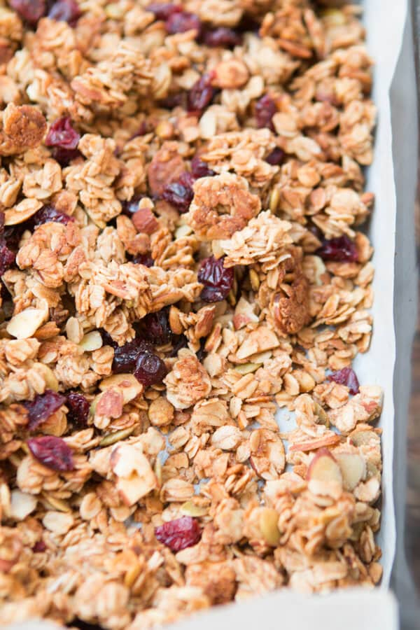 strawberry almond homemade granola. In fact, our best recipe ever. ohsweetbasil.com