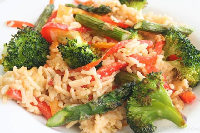 cheesy rice and vegetables