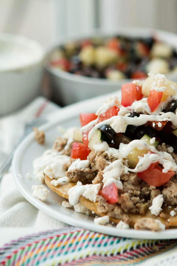 Healthy Greek Tostadas with lemon tzatziki sauce! ohsweetbasil.com