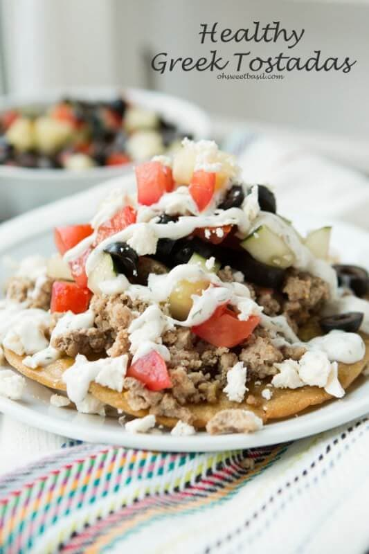 These were awesome! Greek Tostadas with lemon tzatziki sauce! ohsweetbasil.com
