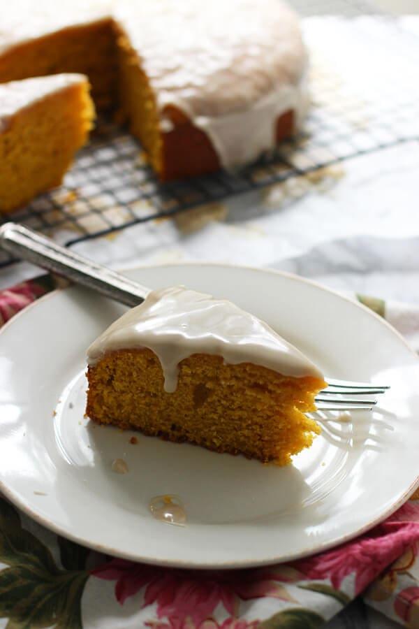 Pumpkin Olive Oil Cake with Brown Butter Glaze