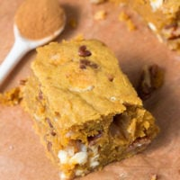 Pumpkin Blondies on OhSweetBasil.com - easy, flavorful and delicious!
