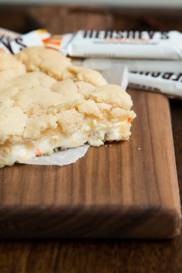 Candy Corn Blonde Brownies ohsweetbasil.com