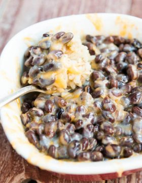 Cheesy black beans and rice ohsweetbasil.com