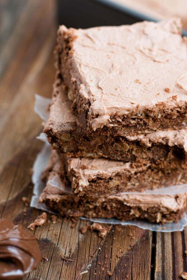 These Nutella Bars are chocolatey awesomeness! Love this recipe! ohsweetbasil.com